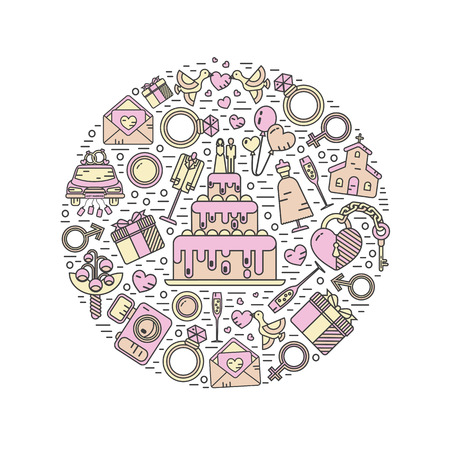 Vector modern line style icons concept of wedding. Cake with bride and groom, invitation, bridal bouquet, rings, champagne, lock and key, birds, car, balloon, camera. Round shape illustration. Stock Illustratie