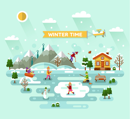 fishing village: Flat design vector nature winter landscape illustration with house, skiing and ice skating, fishing, snowman, bench, mountains, trees, snowflakes. Airplane with banner. Winter time, resort concept. Illustration
