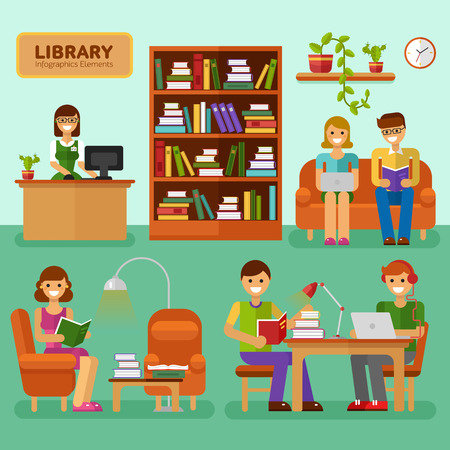 Flat design vector illustration of Library with girls and boys reading books, interior, big bookcase, lamp, bookshelf. Library infographic stock elements. Learning, education concept for website. 向量圖像