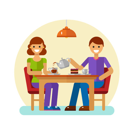 Vector flat design illustration of man and woman drinking coffee or tea in cafe. Young modern couple on dating sitting in the cafeteria, drink coffee or tea and eating desserts.