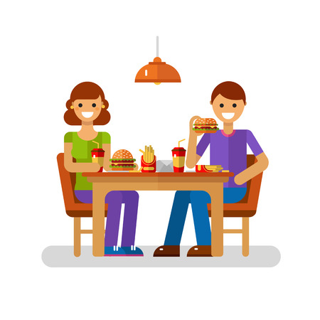 Vector flat design illustration of man and woman eating fast food in cafe or restaurant. Young modern couple on dating sitting in the cafeteria, drink soda, eating french fries, burger, cheeseburger. Illustration