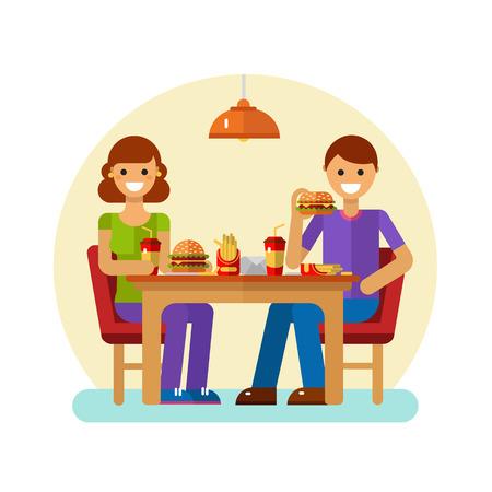 Ilustración del vector del diseño plano del hombre y la mujer comer comida rápida en la cafetería o restaurante. pareja moderna joven en las citas que se sienta en la cafetería, bebidas gaseosas, comer patatas fritas, hamburguesa, hamburguesa con queso.