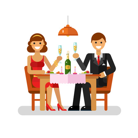 Vector flat design illustration of happy young couple on dating drinking champagne in restaurant. Woman in pretty dress and man in suit celebrate love. Dating and relationship concept.