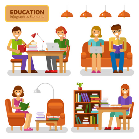 Flat design infographics elements of education, reading and knowledge. Vector illustration with girls and boys reading books and studying, interiors, books, notebook, bookcase, lamp.
