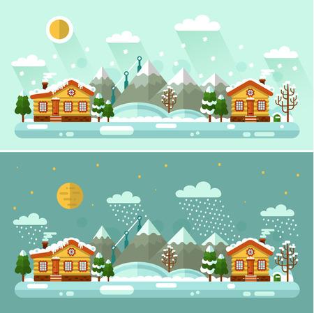 Lapos kivitel vektor Nappali és éjszakai természet téli táj illusztráció falu, nap, hegyek, hold, csillag, madár, felhő, fa, hó, hóesés, hófúvás, jégcsapok. Happy Holidays fogalom. Stock fotó - 69008712