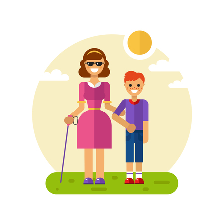 Vector flat design illustration of smiling boy with freckles helping young disabled blind woman in glasses and with stick walking. Woman keeping boys hand. Disability person concept for banner Illustration