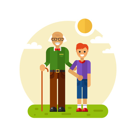 Vector flat design illustration of smiling boy with freckles on a walk with disabled grandfather in glasses with stick. Grandpa keeping grandson's hand. Disability & Family helping concept for banner Stock Illustratie