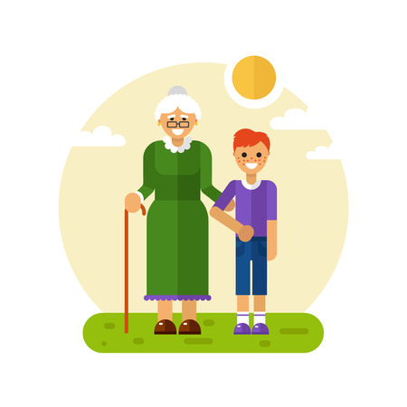 Vector flat design illustration of smiling boy with freckles on a walk with disabled grandmother in glasses with stick. Grandma keeping grandson's hand. Disability & Family helping concept for banner Stock Illustratie