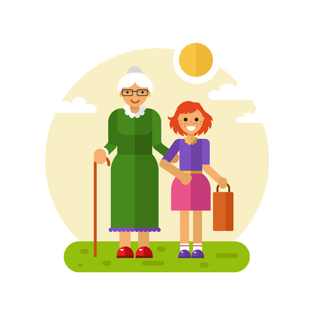 Vector flat design illustration of smiling girl with freckles helps carry bag of disabled grandmother in glasses with stick. Grandma keeping granddaughters hand. Disability & Family helping concept