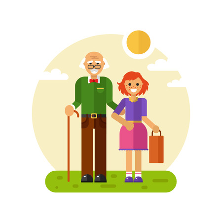 Vector flat design illustration of smiling girl with freckles helps carry bag of disabled grandfather in glasses with stick. Grandpa keeping granddaughter's hand. Disability & Family helping concept. Stock Illustratie