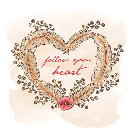 Vector hand drawn ethnic illustration of feathers and flowers in heart shape in Boho vintage style. Pastel color sketch for T-shirt, print, gift card, banner. Title follow your heart. Stock Illustratie