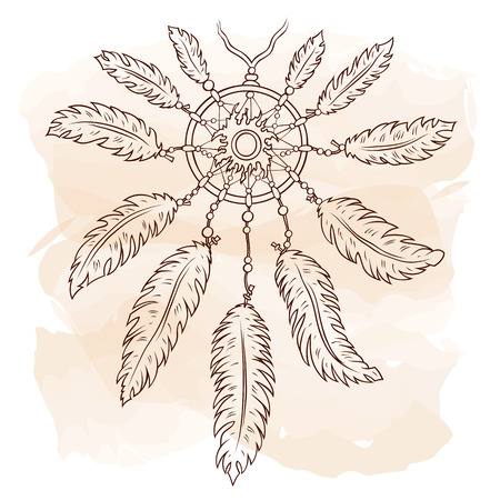 Vector hand drawn ethnic illustration of dreamcatcher with sun in Boho vintage style. Sketch for T-shirt, print, gift card, banner. Title follow your dream. Stock Illustratie