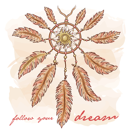 Vector hand drawn ethnic illustration of dreamcatcher with sun in Boho vintage style. Pastel color sketch for T-shirt, print, gift card, banner. Title follow your dream.