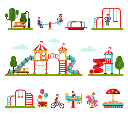 teeter: Flat design vector illustration set of playground and attractions elements for infographic design. Boys and girls on swings, slides and tube, carousel, sandpit and sandbox, ball, teeter board. Illustration