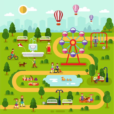 Flat design vector landscape illustration of park map. People rest in the park, sunbathing, ride on bikes, picnic, disabled men and old woman walking. Pond with ducks, swing, fountain, ferris wheel. 向量圖像
