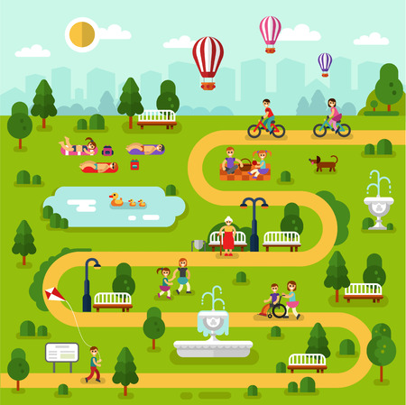 Flat design vector summer landscape illustration of park map. People rest in the park, sunbathing, ride on bikes, picnic, disabled men and old woman walking. Pond with ducks, fountain, air balloon.