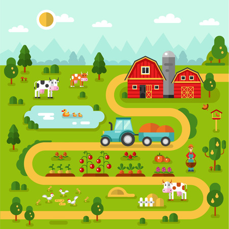 Flat design vector illustration of farm map with barn, garden, tractor, road, beds of carrot, tomatoes, pumpkin, cow, duck, chicken. Farming, agricultural, organic infographic concept.