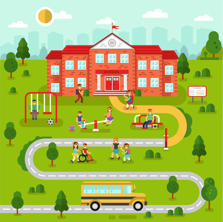 Flat design vector illustration of city map landscape with school building. Bus, playground with playing kids, road, girls and boys with backpacks going to learn. Education concept. The Knowledge day.