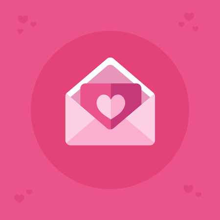 Flat design vector icon of beautiful envelope with letter with sweet heart. Save the date. Happy Valentines Day. Love, engagement or wedding invitation illustration for card and banner. 向量圖像