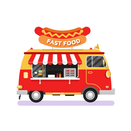 frankfurter: Flat design vector illustration of fast food car. Mobile retro vintage shop truck icon with signboard with big hot dog. Side view, isolated on white background. Fast or junk food concept.