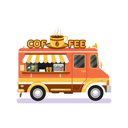 Flat design vector illustration of brown coffee van. Mobile retro vintage shop truck icon with signboard with big cup of coffee. Side view, isolated on white background. Hot drinks on wheels concept. Illustration