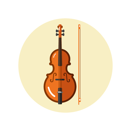 Flat design vector icon of classical violin with fiddle stick or bow. Musical instrument illustration isolated on white