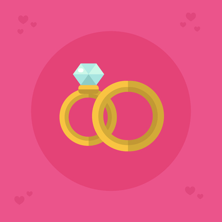 Flat design vector icon of beautiful wedding rings for men and woman with big shiny diamond. Save the date. Engagement golden jewellery illustration for card and banner. 向量圖像