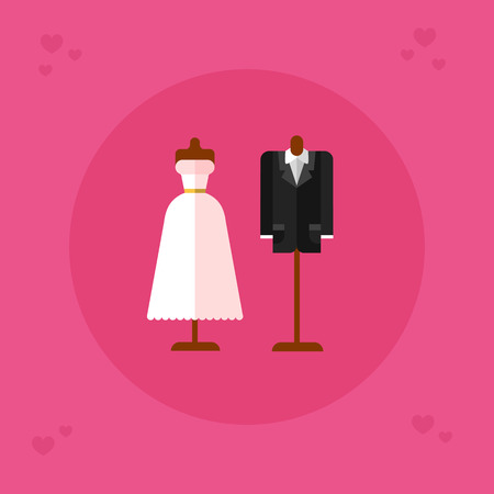 Flat design vector icon of wedding dress and groom suit. Save the date. Engagement or wedding clothes illustration for card and banner. 向量圖像