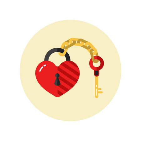 Flat design vector icon of beautiful lock in heart shape with key on golden chain. Save the date. Happy Valentines Day. Love, engagement or wedding illustration concept for card and banner.