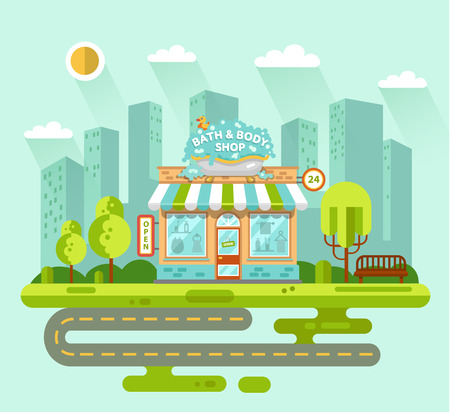 vitrine: Vector flat style illustration of City landscape with bath & body shop building, street with road, bench, trees and sun. Signboard with big wash tub with foam and duck. Shop vitrine with room utensils