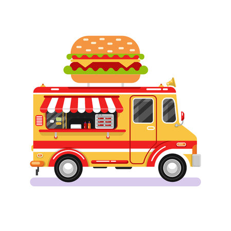 Flat design vector illustration of fast food van. Mobile retro vintage shop truck icon with signboard with big tasty hamburger. Car side view, isolated on white background