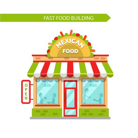 Vector ilustración de diseño plano de la tienda de comida tradicional mexicana edificio. Letrero con grandes y sabrosos tacos. La gente comiendo en la mesa en el restaurante. Aislados en fondo blanco. Vectores