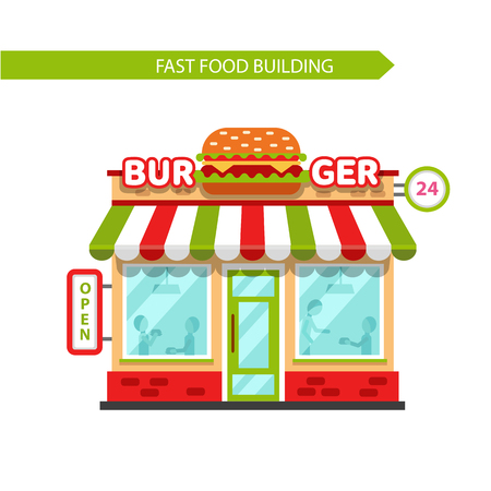 hot couple: Vector flat design illustration of fast food shop building. Signboard with big hamburger. People eating burgers in the restaurant. Isolated on white background.