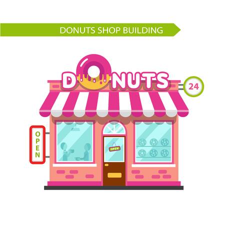 Vector ilustración de diseño plano de buñuelos tienda de construcción. Letrero con gran donut. Gente comiendo en el restaurante. Aislados en fondo blanco.
