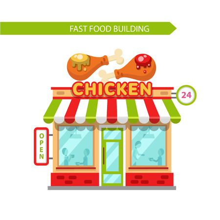 raw chicken: Vector flat design illustration of fast food shop building. Signboard with big fried chicken legs with mustard and ketchup. People eating in the restaurant. Isolated on white background. Illustration