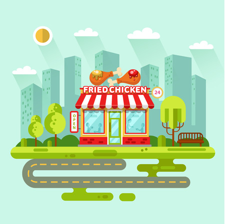 Vector flat design illustration of City landscape with fast food shop or restaurant building, street with road, bench, trees. Signboard with big tasty fried chicken legs with mustard and ketchup.