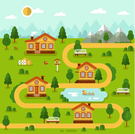 Flat design vector landscape illustration of cartoon village map with cute houses, pond with ducks, road, mountains, bird feeders, bench. Rest in the mountain concept. 向量圖像