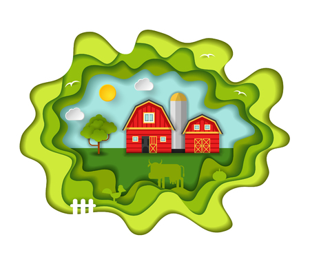Paper art carving with farm barn house. Including sun, clouds, birds, tree, animals, fence. Vector illustration in cut style. Farming, agricultural concept.