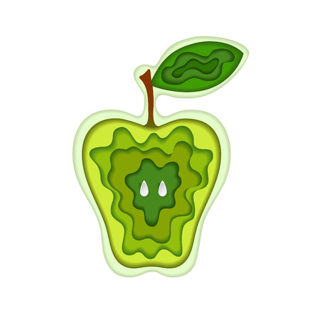 Paper art carving with layered cut out apple shape with green leaf and seeds. Vector illustration in cut style. Fruit concept. For logo, gift cards, web design. Isolated on white background.