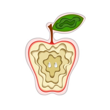 Paper art carving with fruit. Layered cut out apple shape with green leaf and seeds. Vector illustration in cut style. For logo, gift cards, web design. Isolated on white background. Stock Illustratie