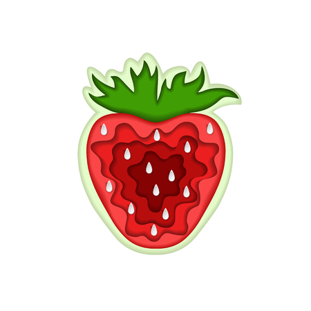 Paper art carving with layered cut out shape of red tasty strawberry with leaf. Vector illustration in cut style. Fruit concept. For logo, gift cards, web design, invitations. Isolated on white.