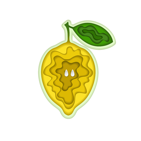 Paper art carving with layered cut out shape of yellow juicy lemon with seeds and leaf. Vector illustration in cut style. For logo, gift cards, web design, invitations. Isolated on white.