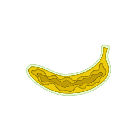 Paper art carving with layered cut out shape of yellow tasty banana. Vector illustration in cut style. For logo, gift cards, web design, invitations. Isolated on white background. Fruit concept. Stock Illustratie