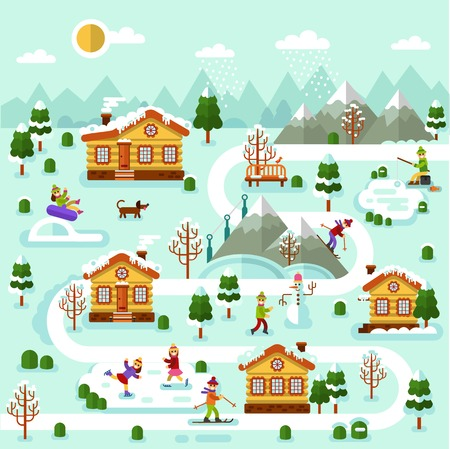 rural road: Flat design vector winter illustration of ski resort map. Illustration