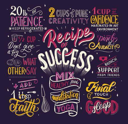 Recipe of success - lettering illustration