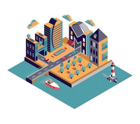 HOME - Isometric vector city with lettering Vector Illustratie