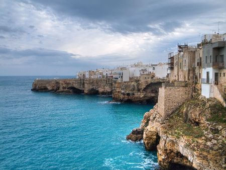 historian: Landscape: This is a landscape sea of Polignano, ancient village in Apulia. Stock Photo