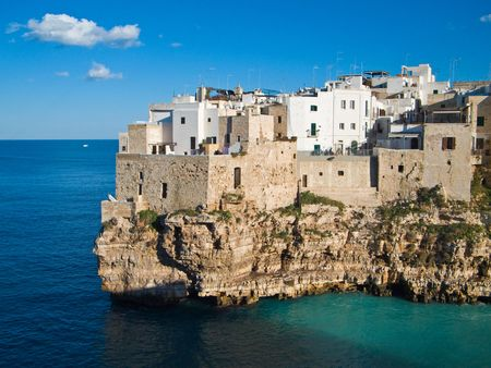apulia: Tourism: This is a panoramic view of Polignano, a country in province of Bari, in Apulia.