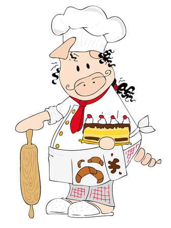 Vector: This is a caricature of a pig dressed as chef. Vector