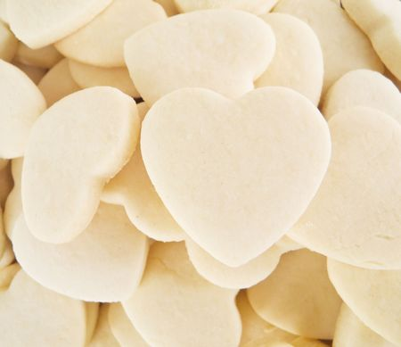 Food: This is a close-up of  shortbreads hearts. photo
